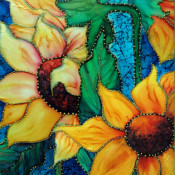 Studded Sassy Sunflowers Silk Painting by Francine Dufour Jones